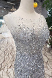 Sequins Bodice Prom Dresses Tulle Mermaid Sweep P37HQ4PZ