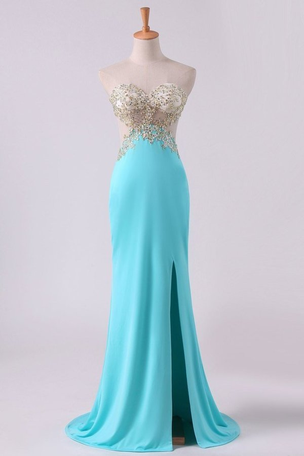Sexy Prom Dresses Sheath With Slit And Applique Sweep PZK6FE9L