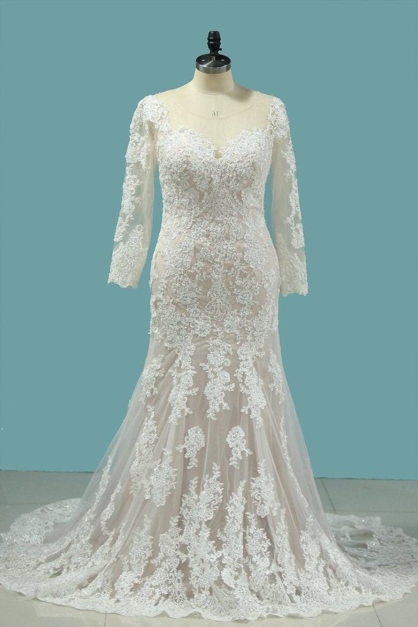 Bateau Wedding Dresses Mermaid Long Sleeve Tulle With Applique PMEK38XJ