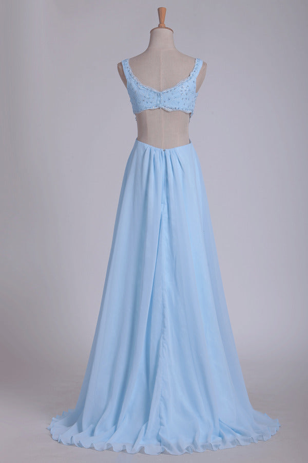 Straps Prom Dresses A Line With Beads Floor PSKD2SN8