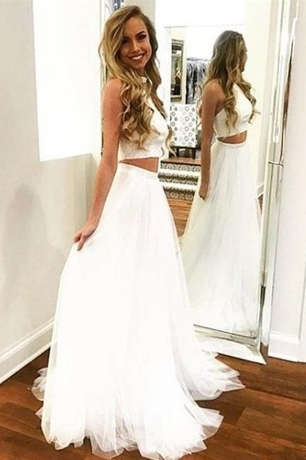 2 Pieces Simple Flowy A-Line Ivory Long Open Back Prom Dresses PPPLXTCJ