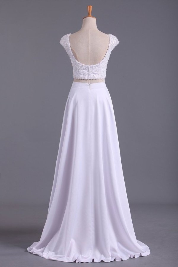 2020 Cap Sleeves Prom Dresses Scoop A Line Beaded Bodice Floor PRLCL9SN