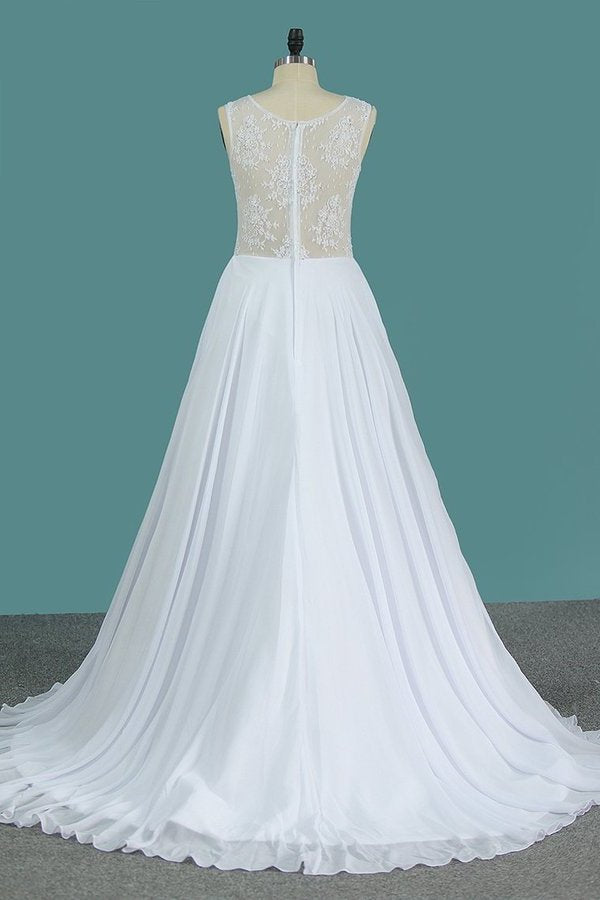 A Line Scoop Chiffon Wedding Dresses With Applique PR7F4XMY