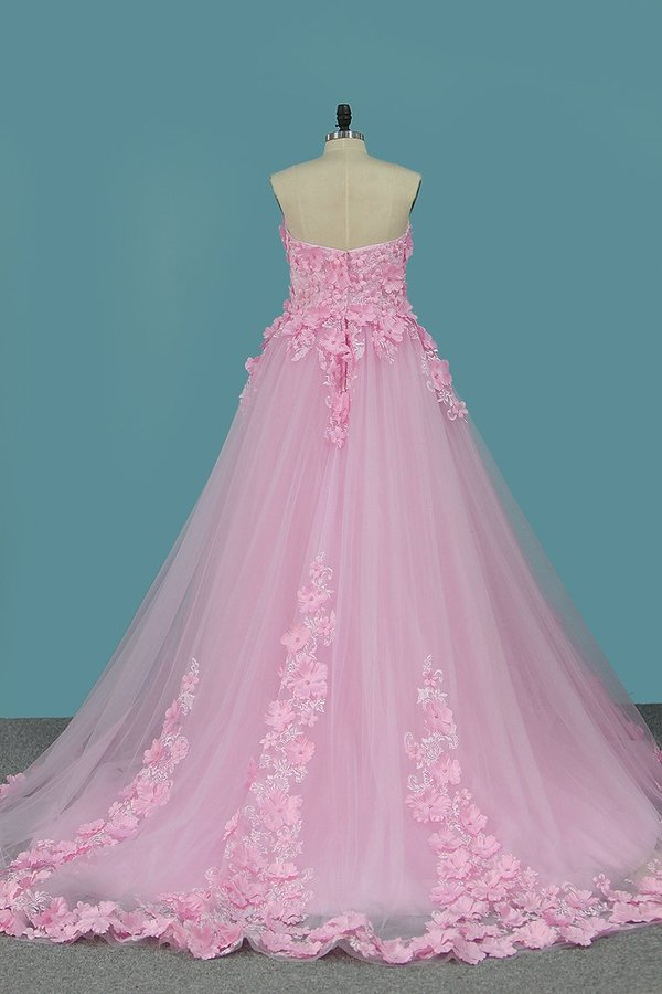 2020 Sweetheart A Line Tulle Wedding Dresses With P963YTGR