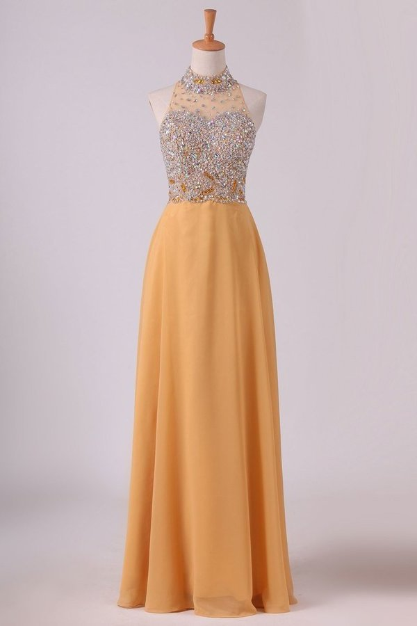 High Neck A Line Chiffon Beaded Bodice Prom Dresses Sweep P5YJ9GK8