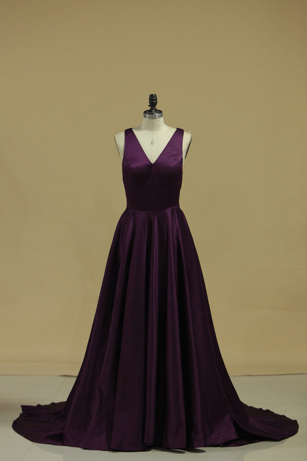 Grape V Neck Evening Dresses A Line With Slit & Ruffles Sweep PHYNK647