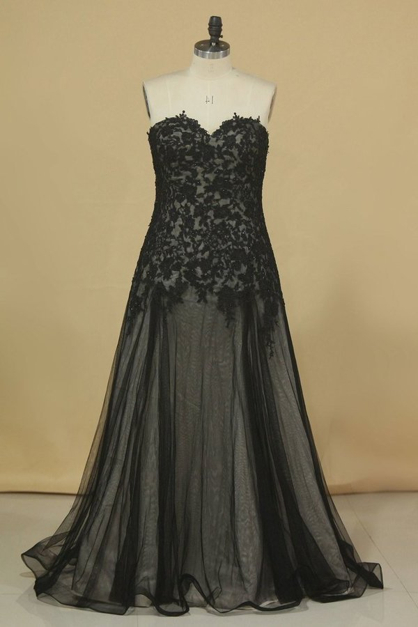 Floor Length Prom Dresses A Line Sweetheart Tulle With PS8NY72M