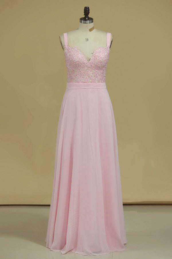 Straps Chiffon With Applique A Line Prom Dresses PNKNPN1P