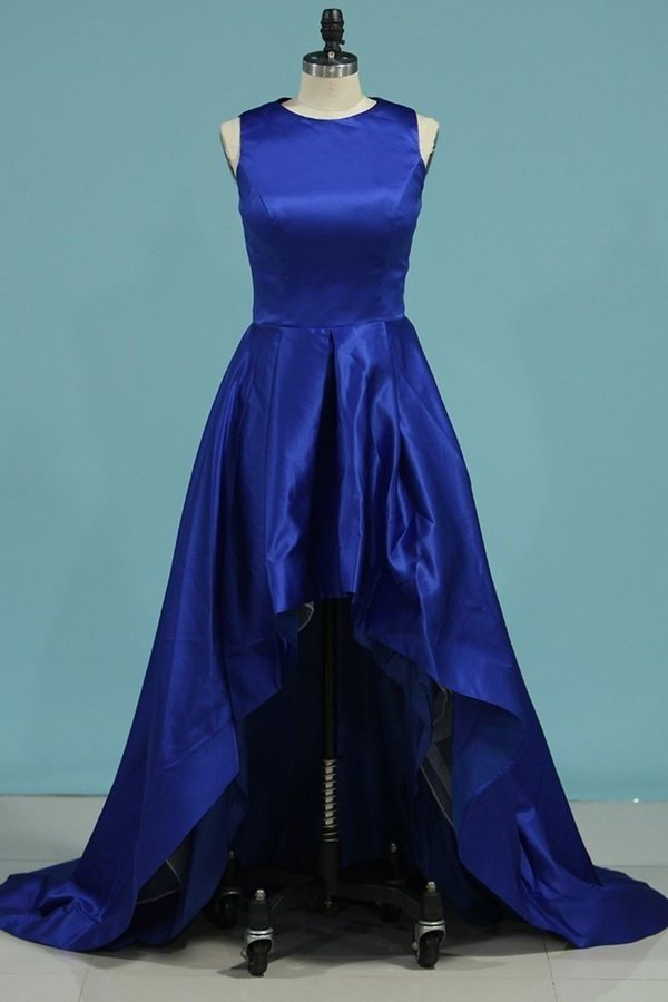 2020 Asymmetrical Scoop Prom Dresses A Line Satin PQG2BZC5