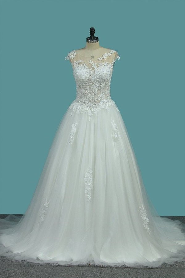 A Line Tulle Scoop Wedding Dresses With Applique PRXB3EM9