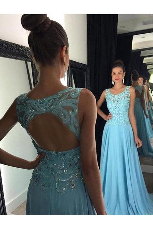 Chiffon Scoop Prom Dresses A Line With Applique And Beads PJFLD5AT