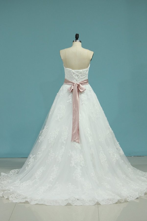 A Line Sweetheart Wedding Dresses Tulle With Applique PY8MC4LH