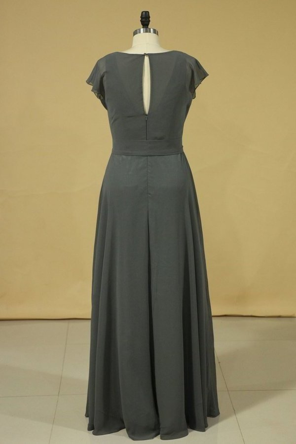 Floor Length Dress Cowl Neck Cap Sleeves With Sash Modified Circle Skirt Plus PXJ1CQX7