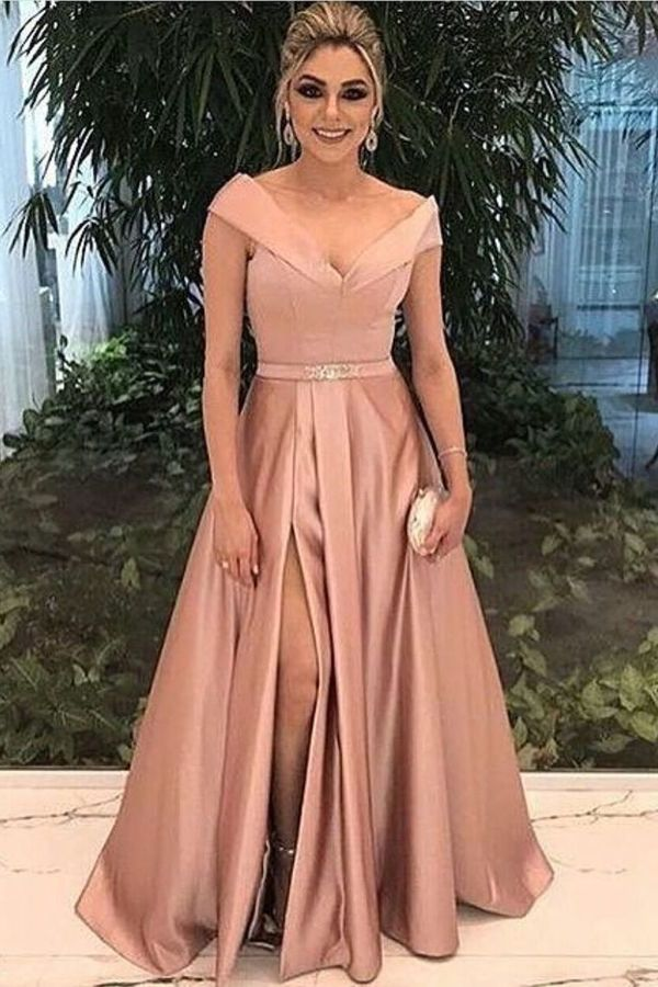 2020 A Line New Arrival Off The Shoulder Satin Evening Dresses With Slit PD5PMXTT