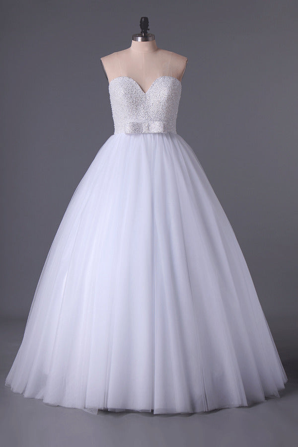 Sweetheart Ball Gown Wedding Dresses Tulle Floor Length P1G2YZNL