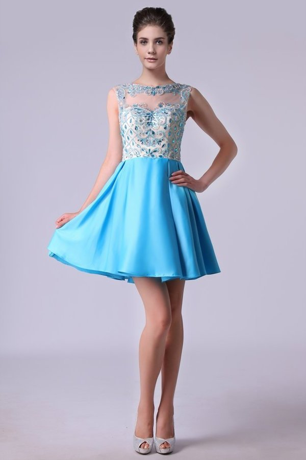 Bateau A Line Homecoming Dresses Satin With Beads PH5H4D6M