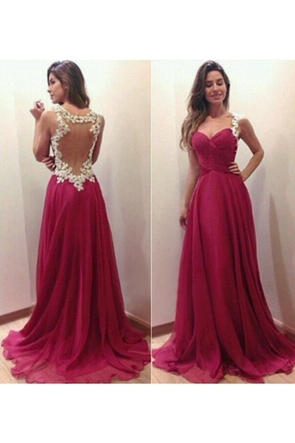 Prom Dresses Straps A Line Floor Length With Applique PDRXYPR1