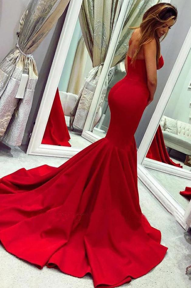 Sexy Red Sweetheart Mermaid Prom Dresses, Strapless Sweetheart Evening Dresses STG15348