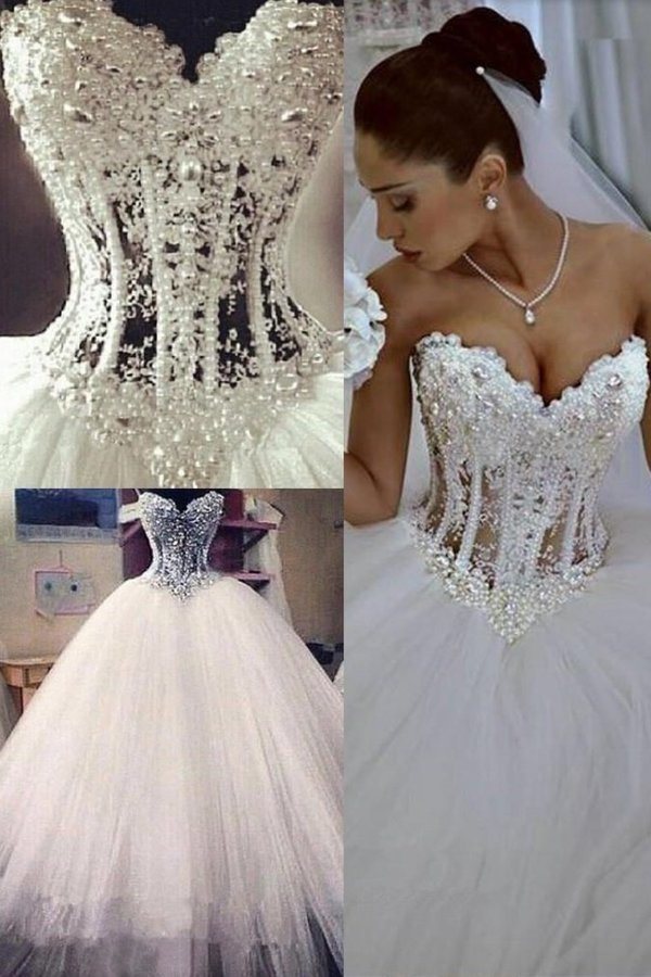 Gorgeous Wedding Dresses A-Line Sweetheart See Through Floor-Length Tulle With Pearls Lace PKETCMDT