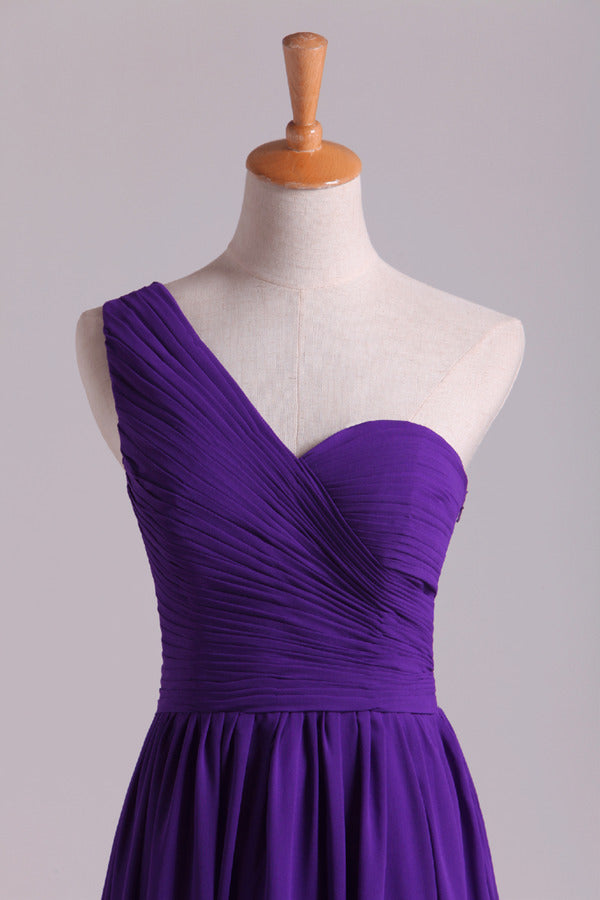 Evening Dress One Shoulder Pleated Bodice Lace Back A Line Full Length PT779ZCE