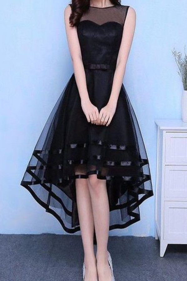 Asymmetrical Scoop Prom Dresses A Line Tulle P5T25R1A