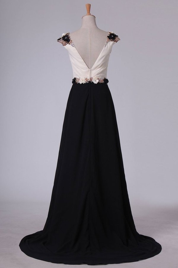 2020 Chiffon Prom Dresses Bateau Open Back With Beading Sweep P5CMSTHF