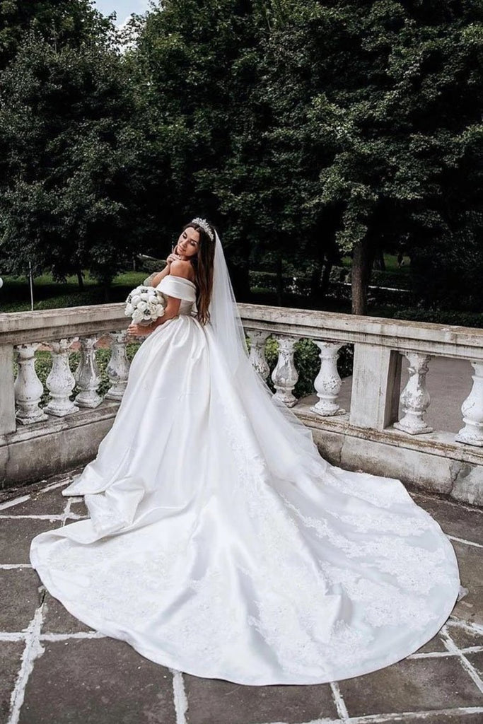 Ball Gown Off The Shoulder Satin White Sweetheart Wedding Dresses Wedding STGP46AJRNZ