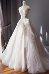 Stunning Off The Shoulder Tulle Wedding Dress With Applique Bridal Dress With Long STGPAE18RA2