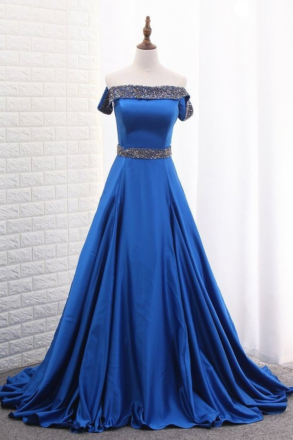 A Line Prom Dresses Boat Neck Satin With Beads PS5DFTM2