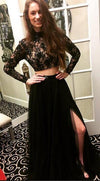 Long Sleeves Modest Black Two Pieces Beaded Lace Long Women Dresses Prom Dresses