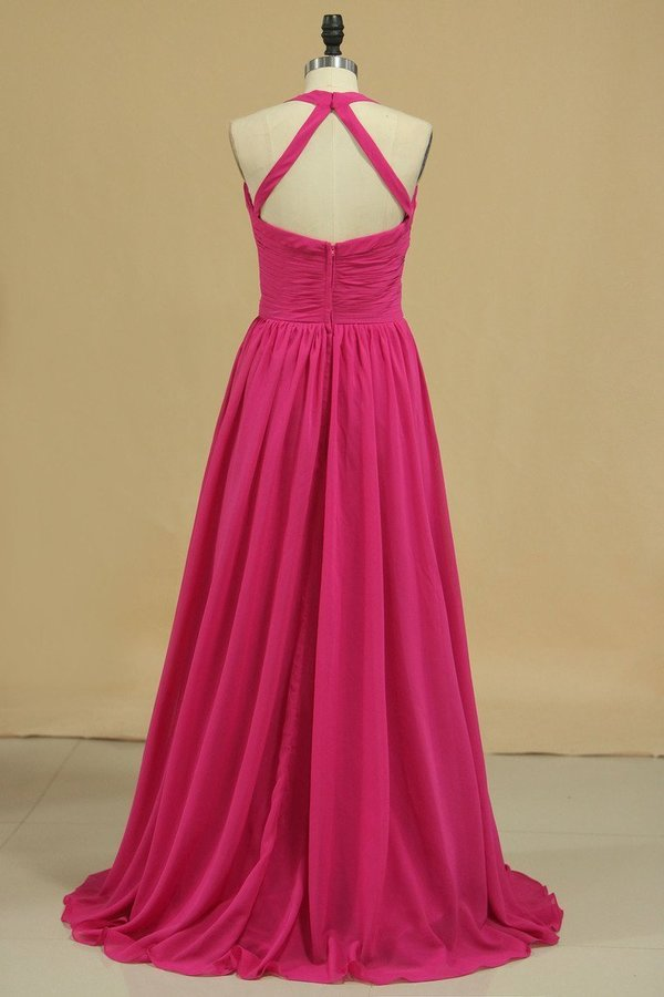 Halter A Line Chiffon Bridesmaid Dresses Floor-Length With PD1RMGJN