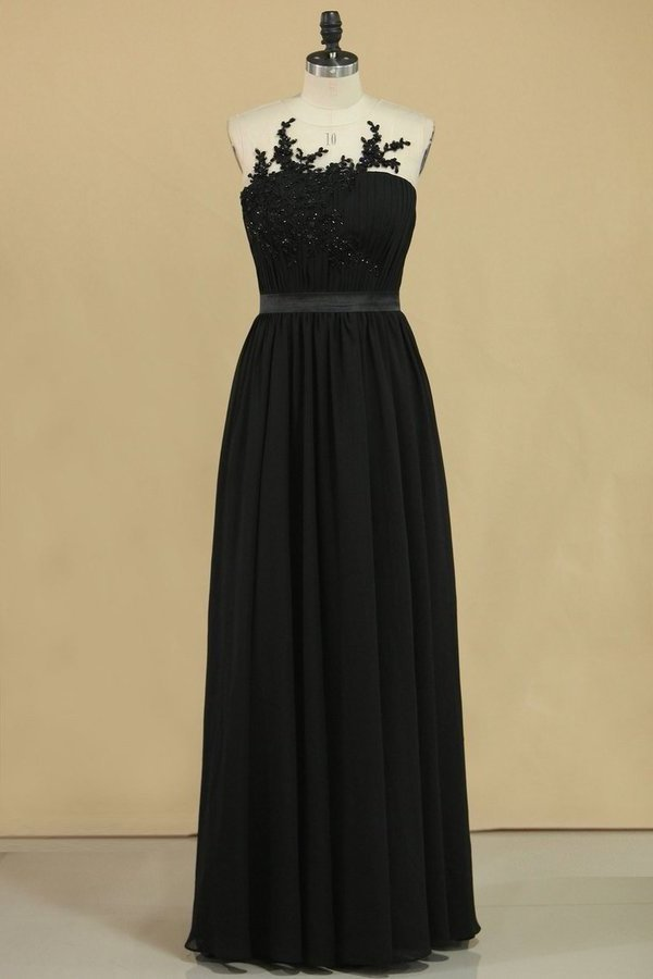 2020 Black Scoop A Line Evening Dresses Chiffon With Sash & PJATDEAK
