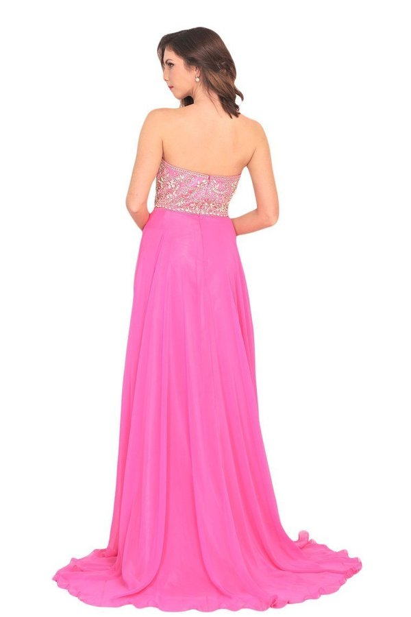 2020 A Line Sweetheart Beaded Bodice Prom Dresses Chiffon Sweep P8YC1KZQ