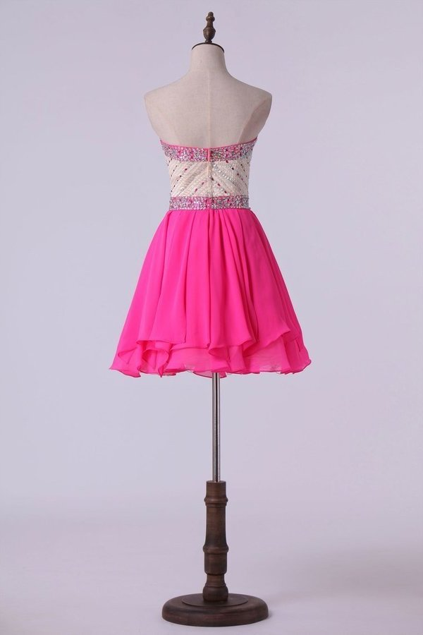 Sweetheart A Line Short Prom Dress With Layered Chiffon P3ZL7L4X