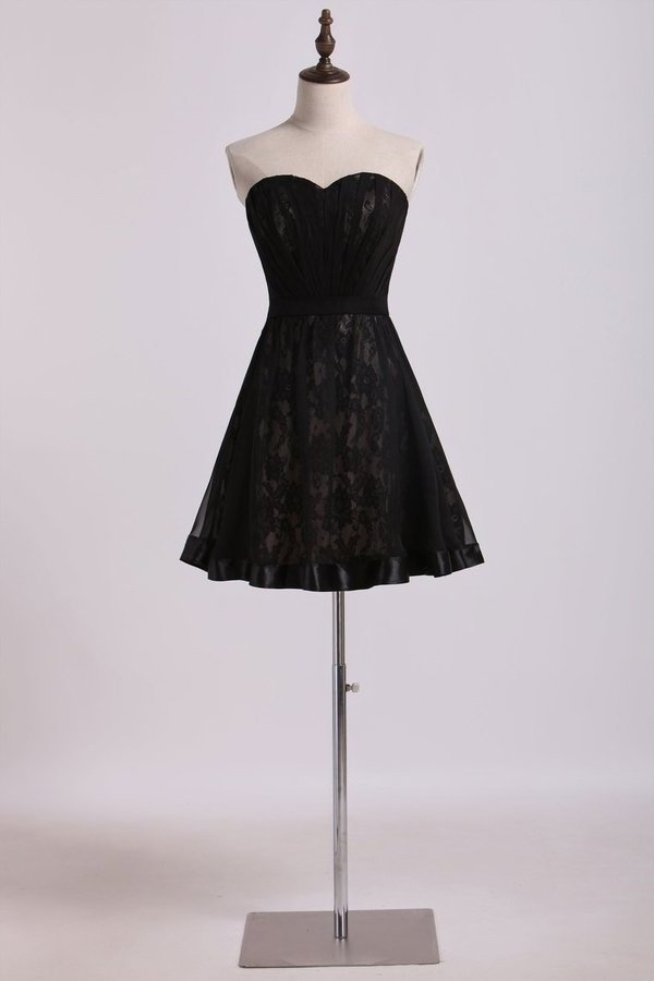 Sweetheart Homecoming Dresses A Line Chiffon&Lace With PRZR16H8
