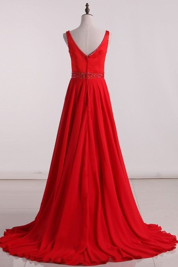 2020 A Line V Neck Prom Dresses Chiffon With Beading P9SATFD2
