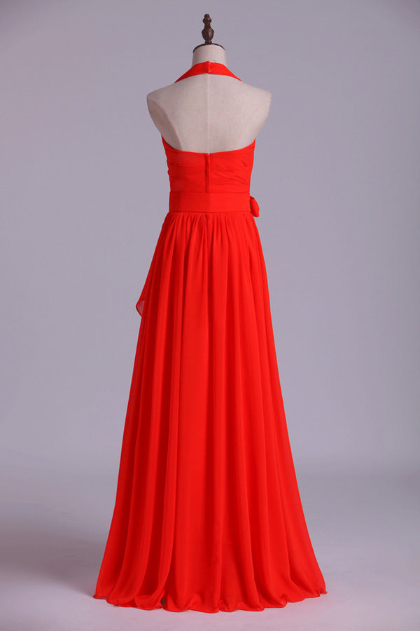 Halter A-Line Bridesmaid Dresses Floor Length With Long Chiffon PHL64EBF
