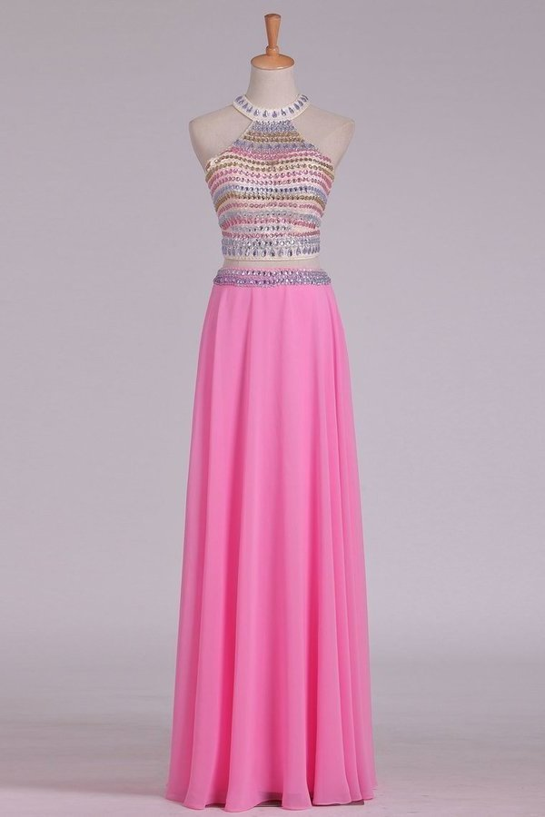 A Line Halter Open Back Two Pieces Beaded Bodice Chiffon & Tulle Prom PXE2PBCD