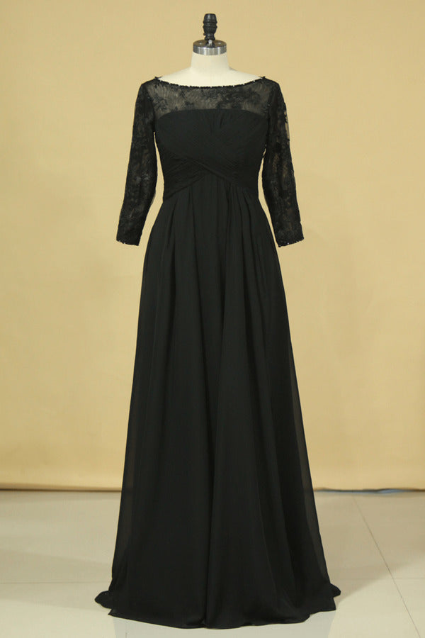 2020 Black Plus Size Mother Of The Bride Dresses Scoop A Line Chiffon With PZKAHHS3