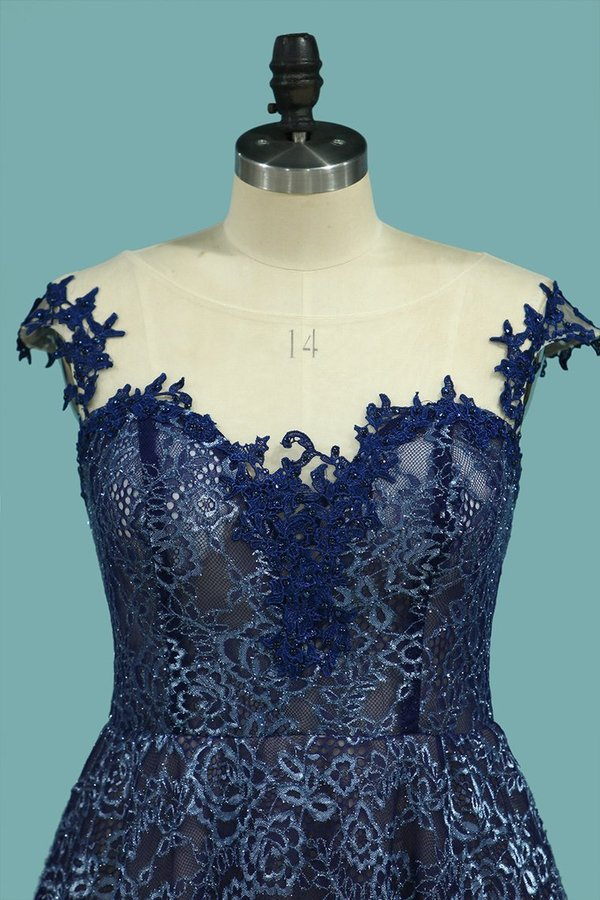 2020 A Line Scoop Cap Sleeves See-Through Lace With Applique PQZFNBN9
