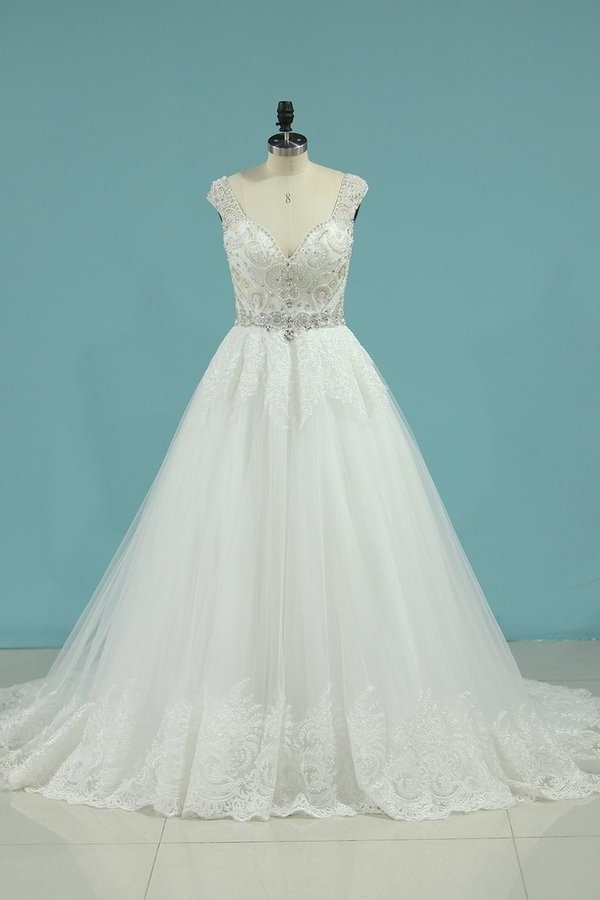 A Line Open Back V Neck Wedding Dresses Tulle With Applique And Beading PH4N5EDG