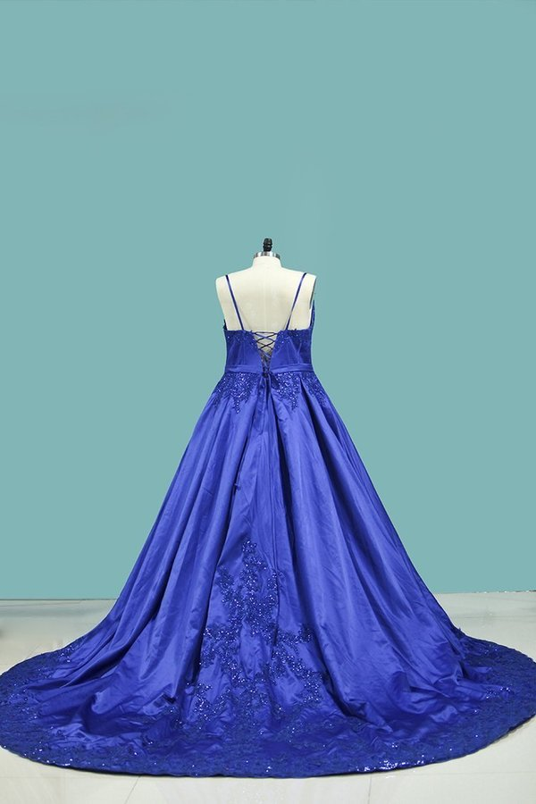 Court Train Ball Gown Spaghetti Straps Satin With Applique P6RAHL7P