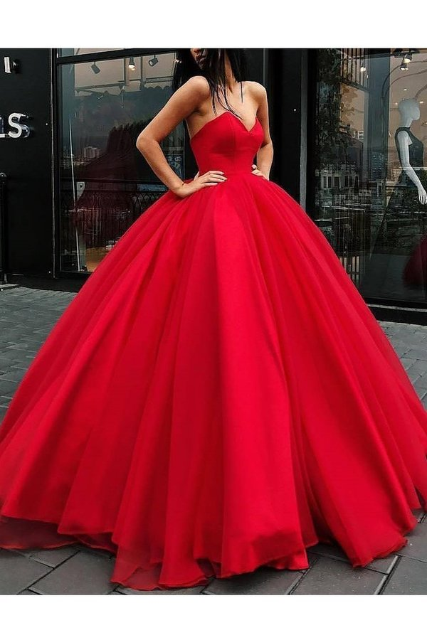 Ball Gown Sweetheart Prom Dresses Organza PLM4MFM3