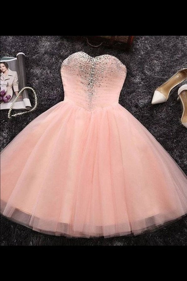 2020 Sweetheart Homecoming Dresses A Line Tulle With Beads PGM68QT4