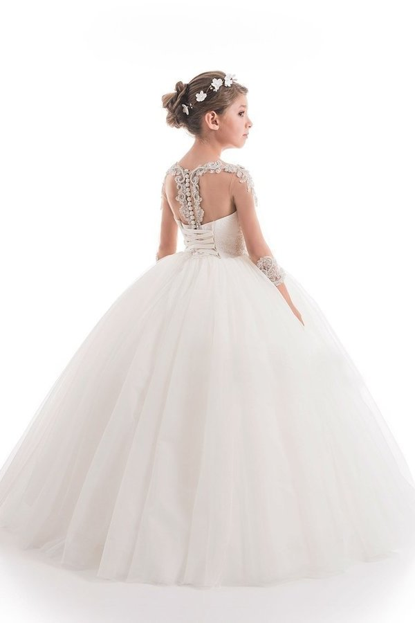 2020 Ball Gown Scoop Beaded Bodice Flower Girl Dresses Tulle PYFADS89