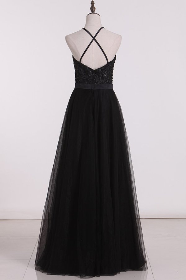 Bridesmaid Dresses A Line Scoop Open Back Tulle With Embroidery P9937DK2