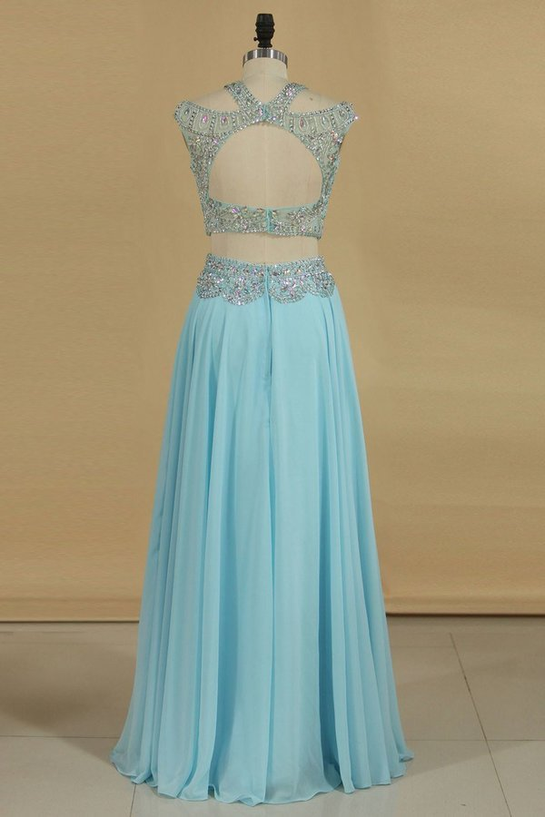 2020 A Line Prom Dresses Two Pieces Scoop Beaded Bodice Chiffon Sweep Train PEGKNKXX