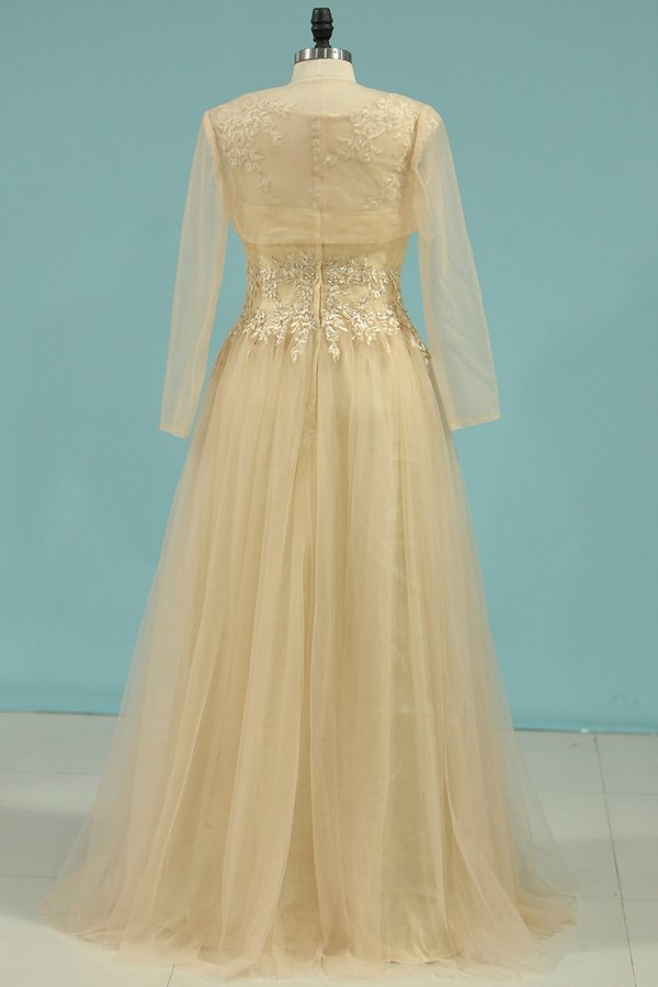 A Line Scoop Mother Of The Bride Dresses Tulle With Applique PCMYX6GD