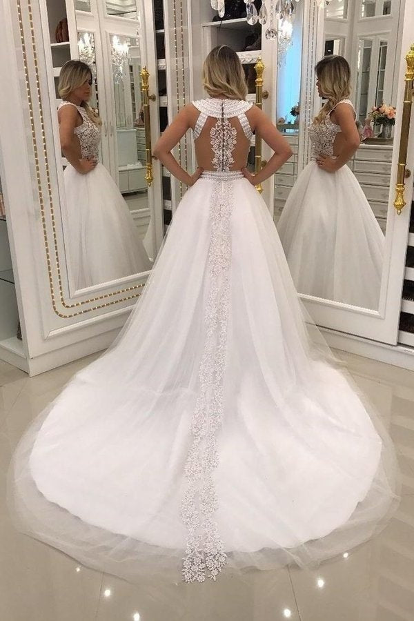 2020 A Line Scoop Wedding Dresses Tulle With Applique And Beads PAGQ5KR5