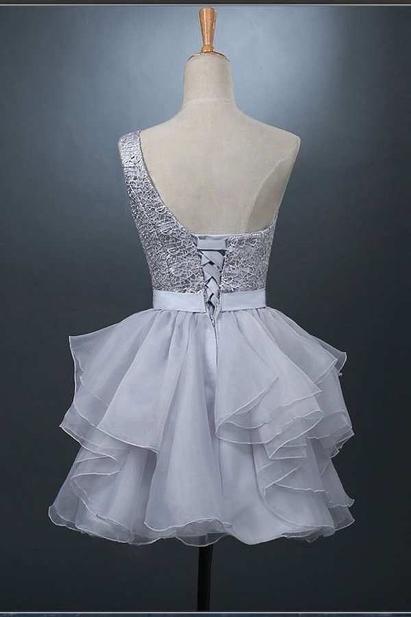 A Line Homecoming Dresses One Shoulder With Sash Organza PDCNFEBC